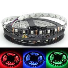 Placa pcb preto 5 m 5050 smd 300 leds cor rgb não-impermeável tira conduzida flexível luz dc12v free grátis