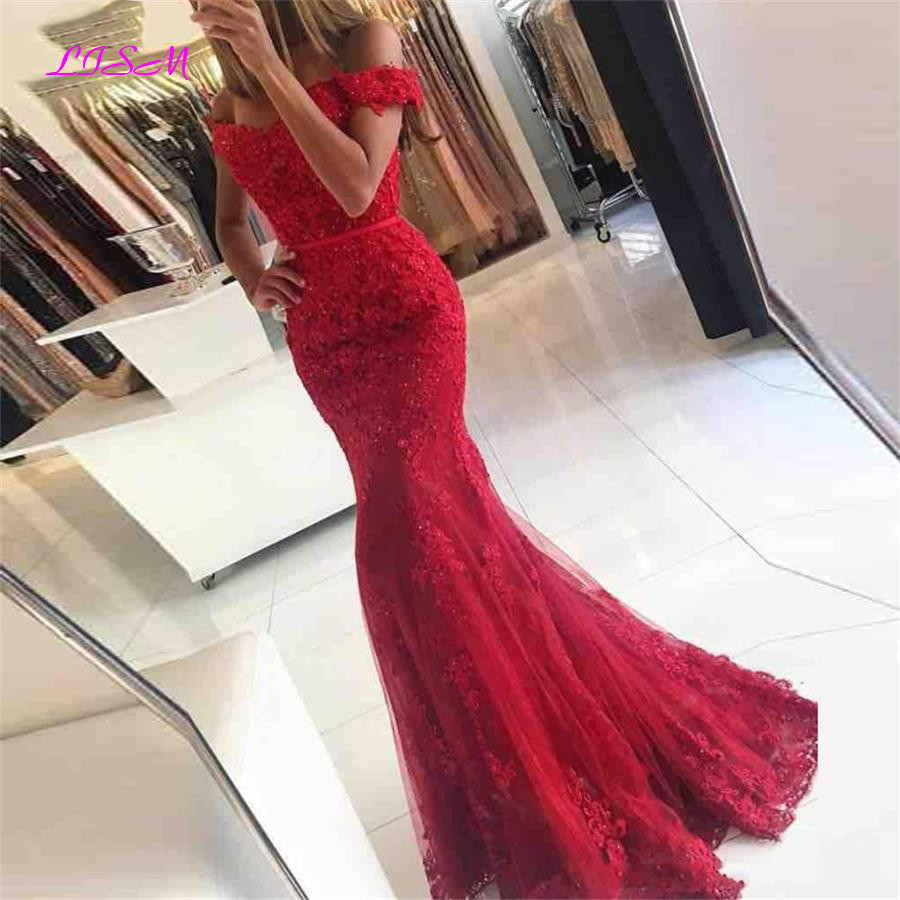 Red Mermaid Long Prom Dresses Off Shoulder Applique Lace Evening Dress Elegant Beaded Tulle Formal Party