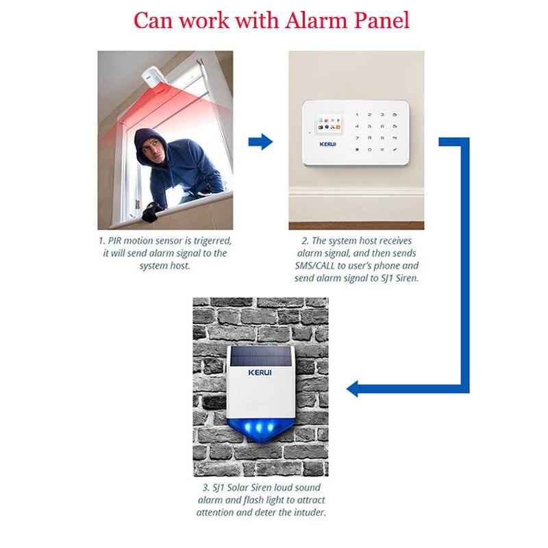 KERUI nuevo Flash inalámbrico estroboscópico al aire libre sirena a prueba de agua Alarma inalámbrica GSM sistema de Alarma de seguridad para el hogar carga de energía - 6