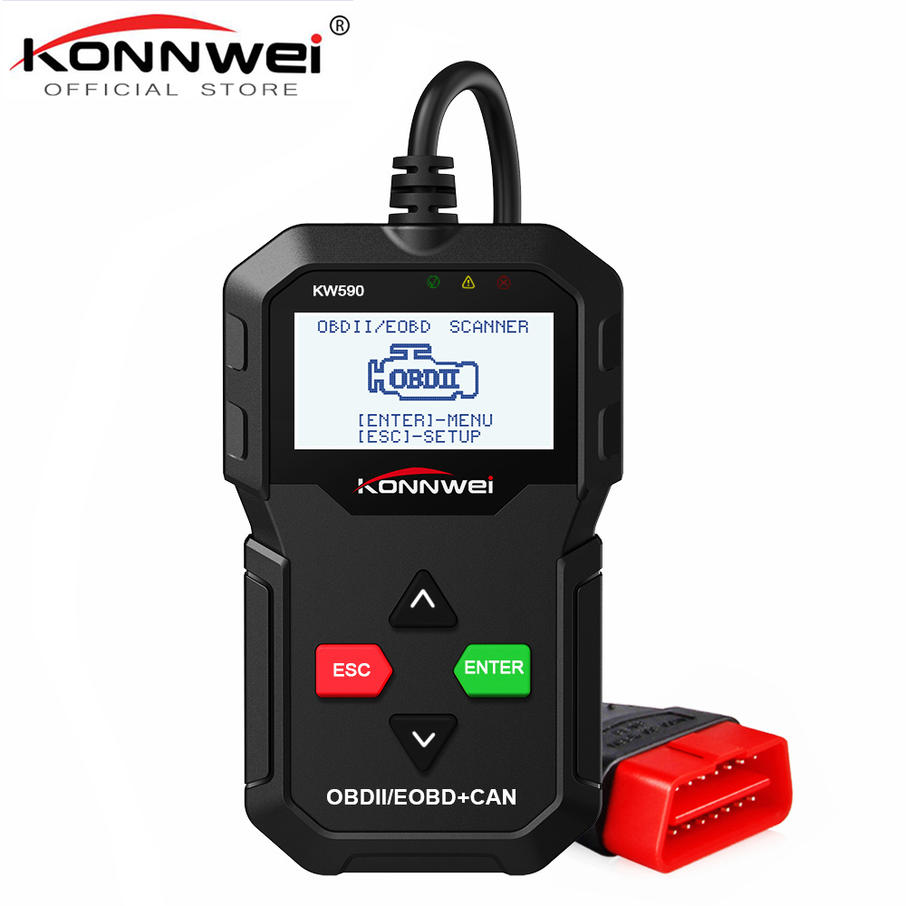 KONNWEI OBD OBD2 Scanner KW590 Full ODB2 Function Automotive Scanner Multi-languages em portugues in Russian Car Diagnostic Tool