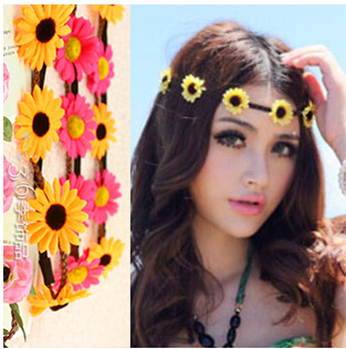 new 5 Flower design Daisy Headband Flower Crown Summer Festival Wear Music  Festival Bohemian Hairband 12pcs lot d593f2e98e7