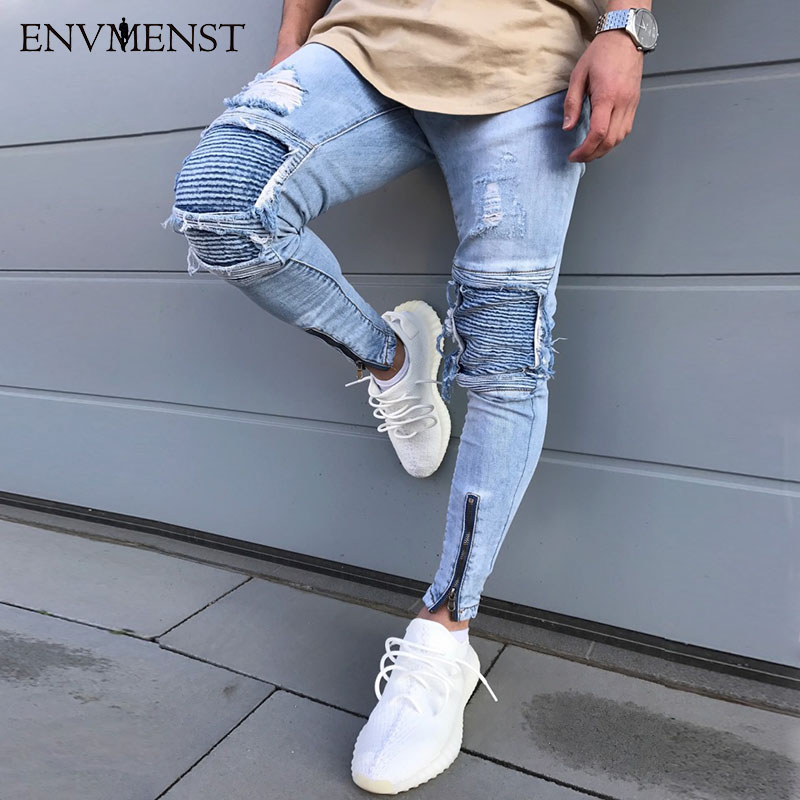 Envmenst Men's Blue Ripped Jeans Pants With Holes Super Skinny Slim Fit Destroyed Distressed Denim Joggers Trousers For Male 2016 new brand slim fit destroyed torn jeans new blue ripped jeans men with holes pants for male plus size 28 33