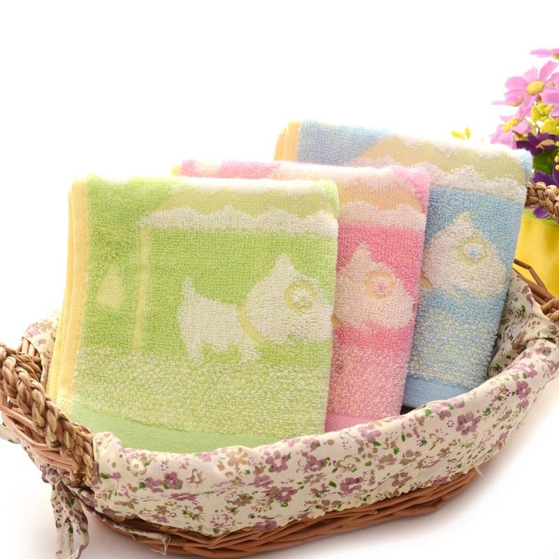 2Pcs/Lot 100% Cotton Baby Towel Soft Water Absorbent Cartoon Teddy Pattern Wipe Face Towel 25x50cm