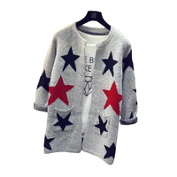 2016 New Fashion Star Pattern Cardigans Female Sweaters Knitted Long Sleeve Slim Women Sweater Cardigan D77
