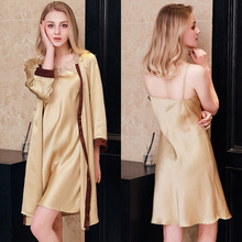 100% Real Silk Sleeping Robes Two-Piece Female Sexy Sling Nightdress Pure Natural Sleepwear Woman Bathrobe Sets P9903