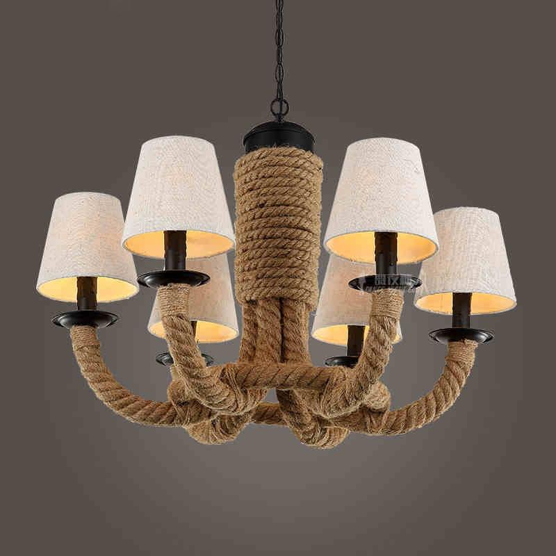 DIY Loft Personality Rope Pendant Lights Retro Vintage Restaurant Lamp Dining room pendant lamps E27 hemp rope light