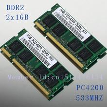 Новый 2 ГБ 2 x 1 ГБ PC2-4200 DDR2-533 533 мГц 200pin DIMM памяти ноутбука pc4200 533 мГц DDR2 низкой плотности 512ram бесплатная доставка