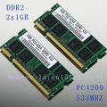 NEW 2GB 2x1GB PC2-4200 DDR2-533 533Mhz 200pin DIMM Laptop Memory pc4200 533MHZ DDR2 Low Density RAM Free shipping