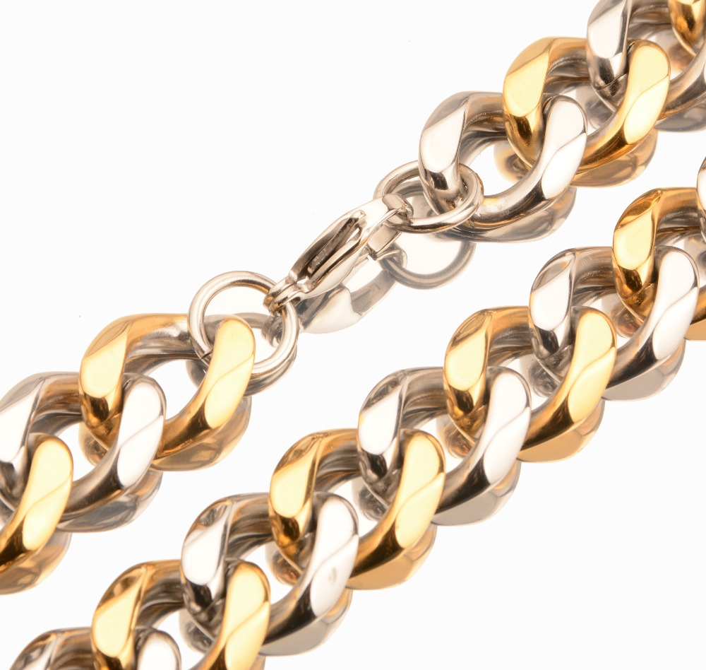 Silver Color Stainless Steel Male Cuban Link Chains Necklaces Or Bracelets For Men Jewelry 7 40Inch