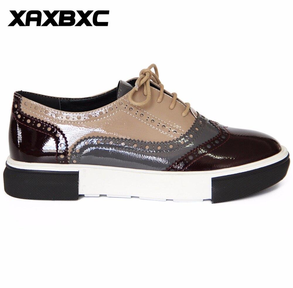 XAXBXC 2018 Primavera Otoño Estilo Británico Brogues Oxfords Pisos - Zapatos de mujer - foto 2
