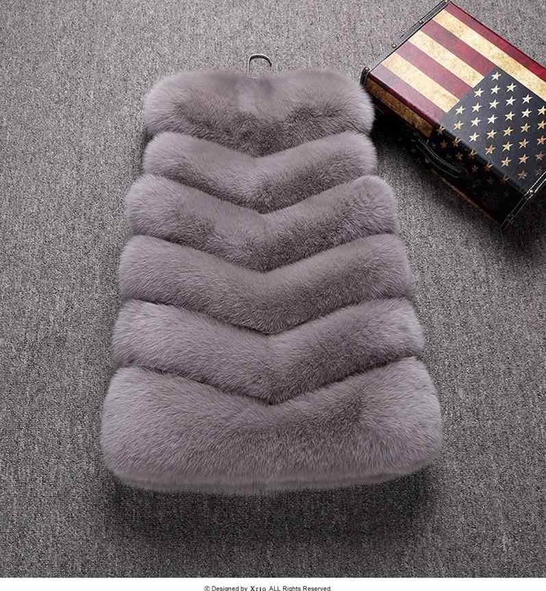 Chaleco de piel de zorro de imitación de alta calidad chalecos rojos de invierno grueso Chaleco de piel de abrigo de lujo de moda chaqueta de piel Gilet mujer w1975