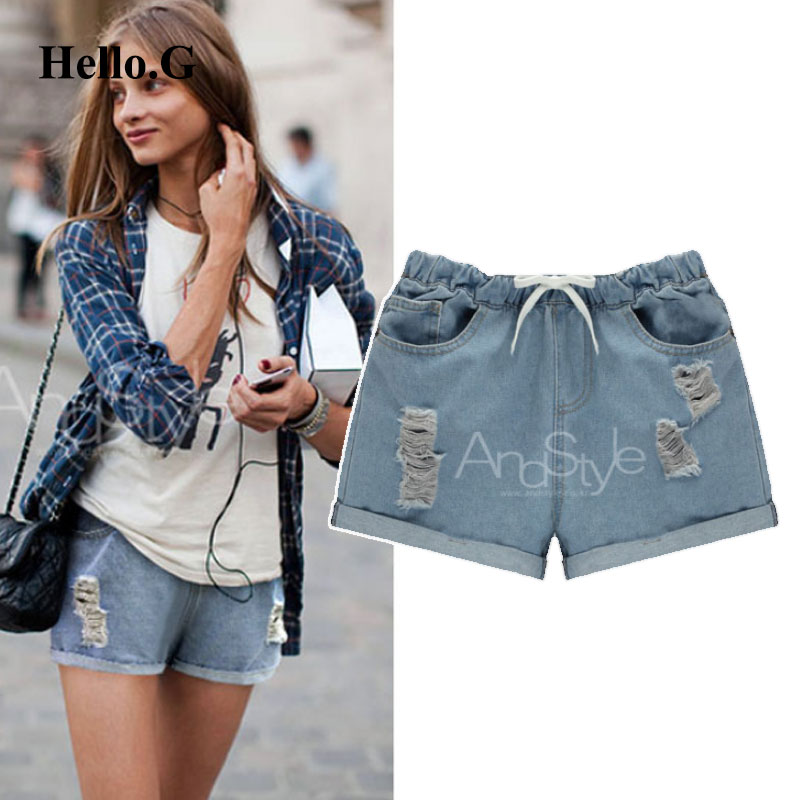 European Plus Size XXXXXL Summer Style High Waist Ripped Jeans Shorts For Women Clothing Torn Denim