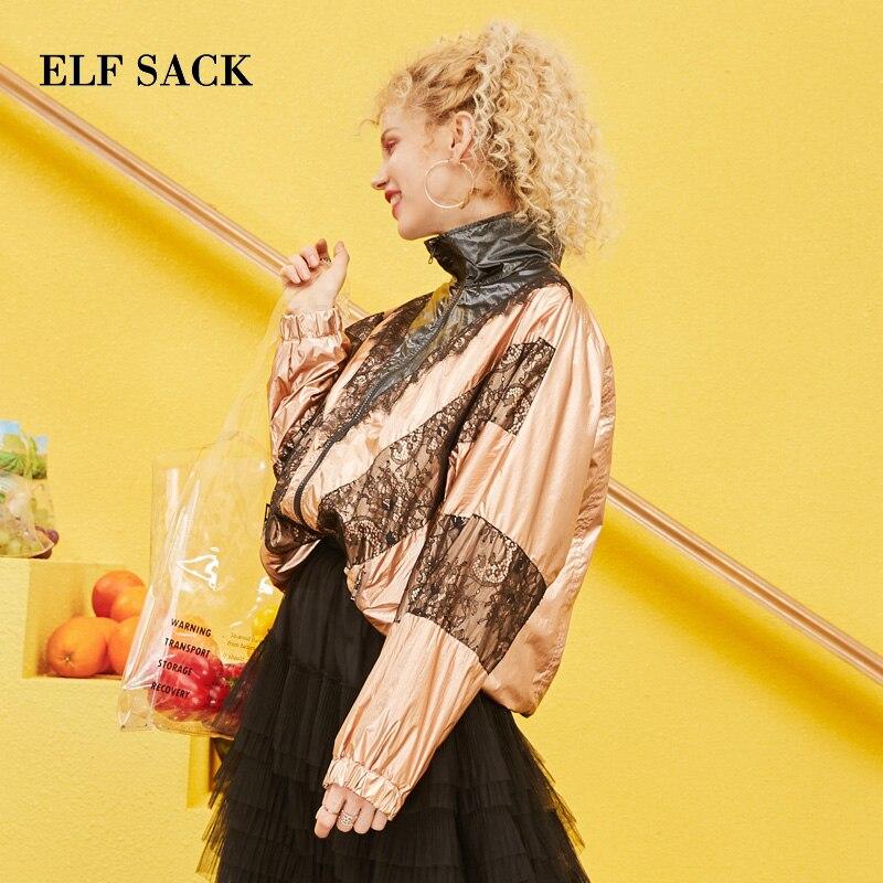 ELF กระสอบ 2019 ฤดูใบไม้ผลิใหม่ผู้หญิง Outerwear Jacktets Casual Zipper พิมพ์ผู้หญิงเสื้อลูกไม้ Patchwork Streetwear Femme แจ็คเก็ต-ใน แจ็กเก็ตแบบเบสิก จาก เสื้อผ้าสตรี บน   2