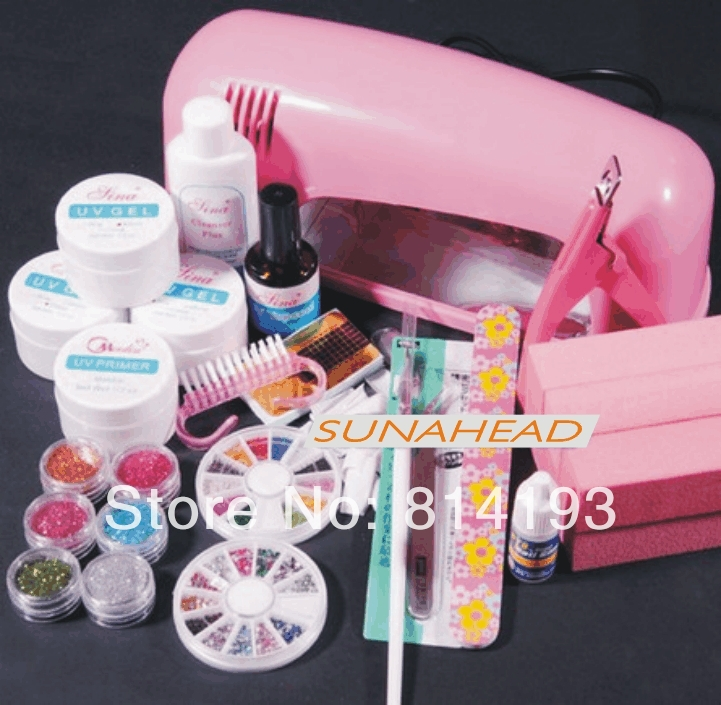 Promotion 9W pink UV Gel Lamp Dryer LIGHT NAIL ART Manicure TIPS SET KIT Rhinestone 6 Block Free Shipping