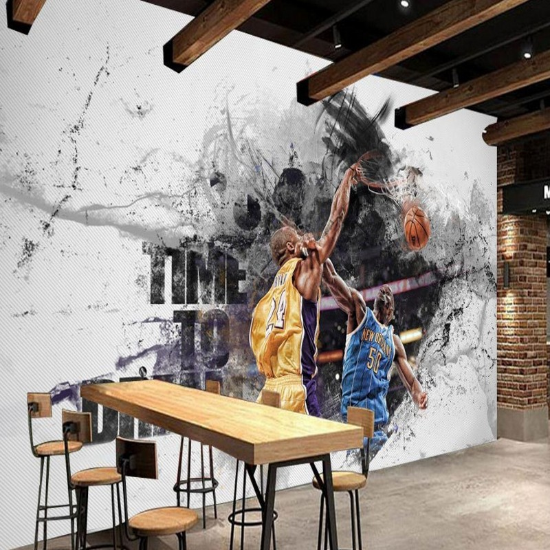 Free Shipping Creative basketball star background wall home decoration high-quality self-adhesive bedroom mural wallpaper  free shipping retro female star mural background wall bathroom studio home decoration artistic studio bedroom wallpaper