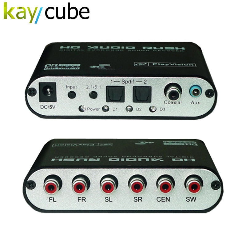 Kaycube TV Digital S/PDIF to Analog Stereo RCA Audio Converter Dolby 5.1 5.1CH Digital Sound Decoder