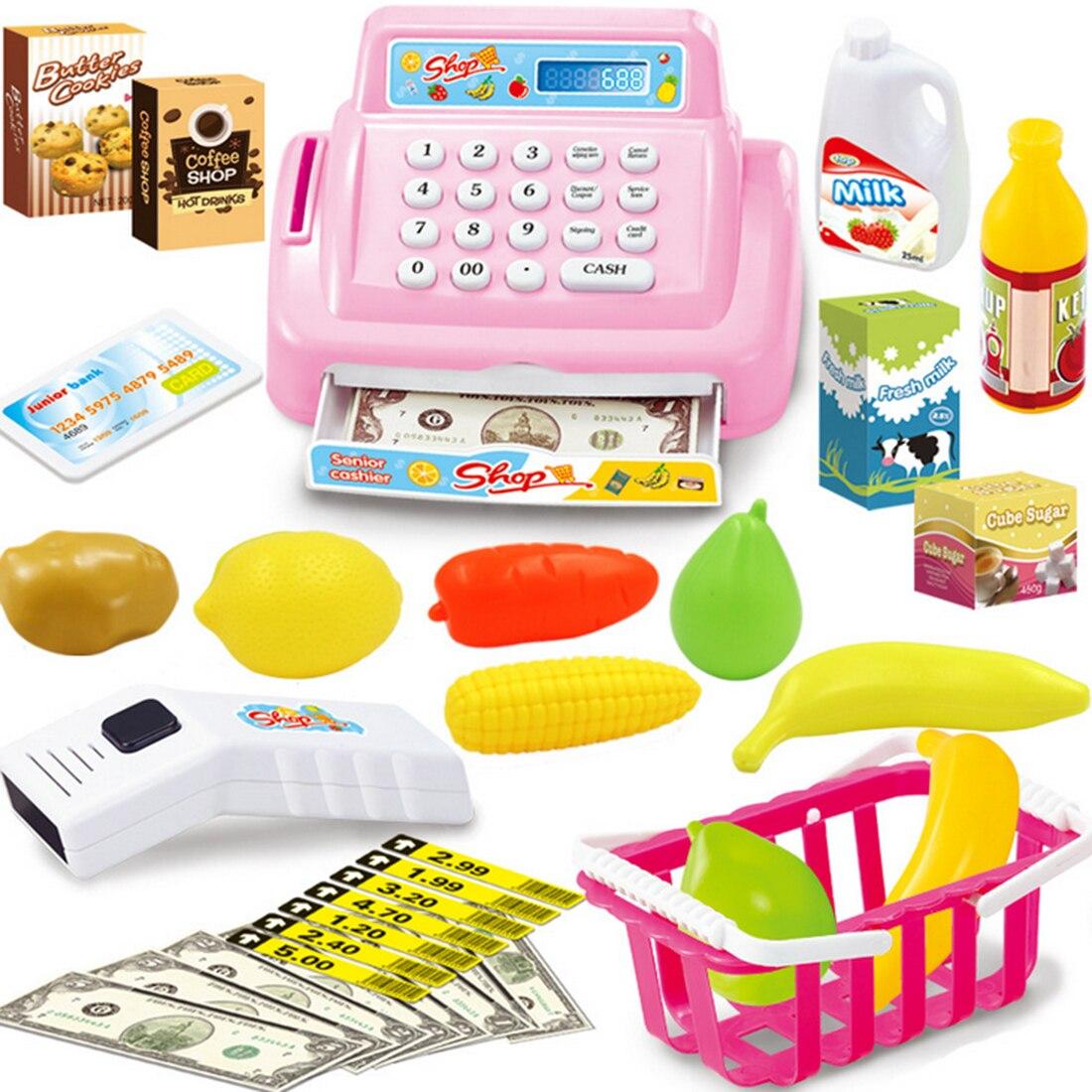 Kids Supermarket Cash Register Electronic Toys with Foods Basket Money Children