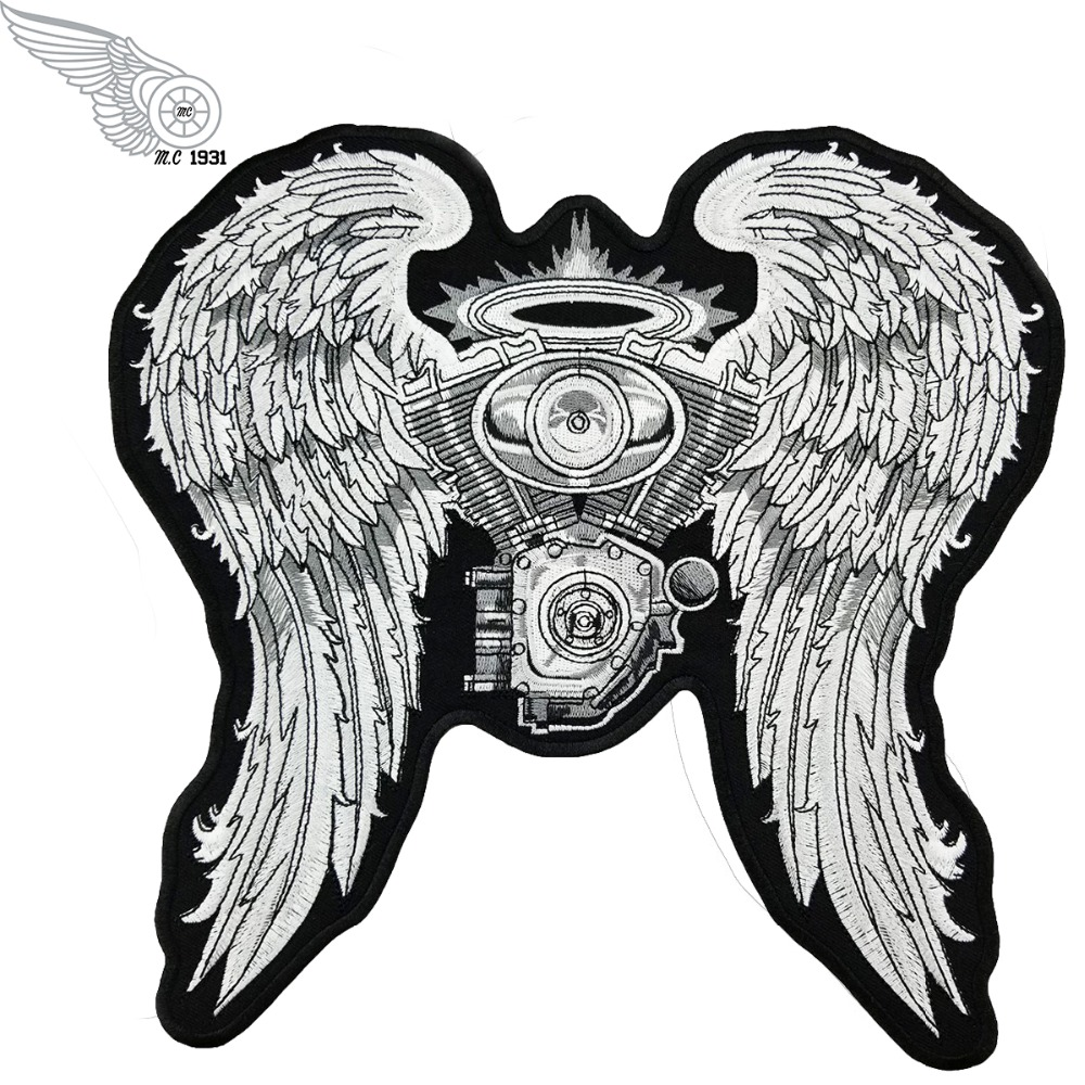 LARGE SIZE LETHAL ANGEL Skull Pink Roses Wings Star Embroidery Sew Iron on Patch