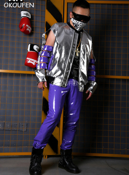 2018 New Cool Hollow Sleeves Silver Leather Jacket Men's novelty stage costume nightclub singer dj costumes