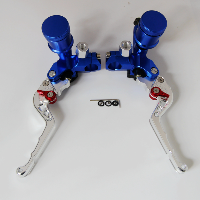 Chrome&Blue  7/8 22mm Motorcycle CNC Clutch Brake Lever Set+Master Cylinder Reservoir Refits for standard handle bar universal front clutch brake master cylinder reservoir handle bar lever aluminum one pair 7 8 22mm orange