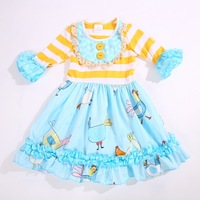 Cartoon Style 100 Cotton Yellow Striped Summer With Ruffles Trim And Half Big Flare Sleevess Baby
