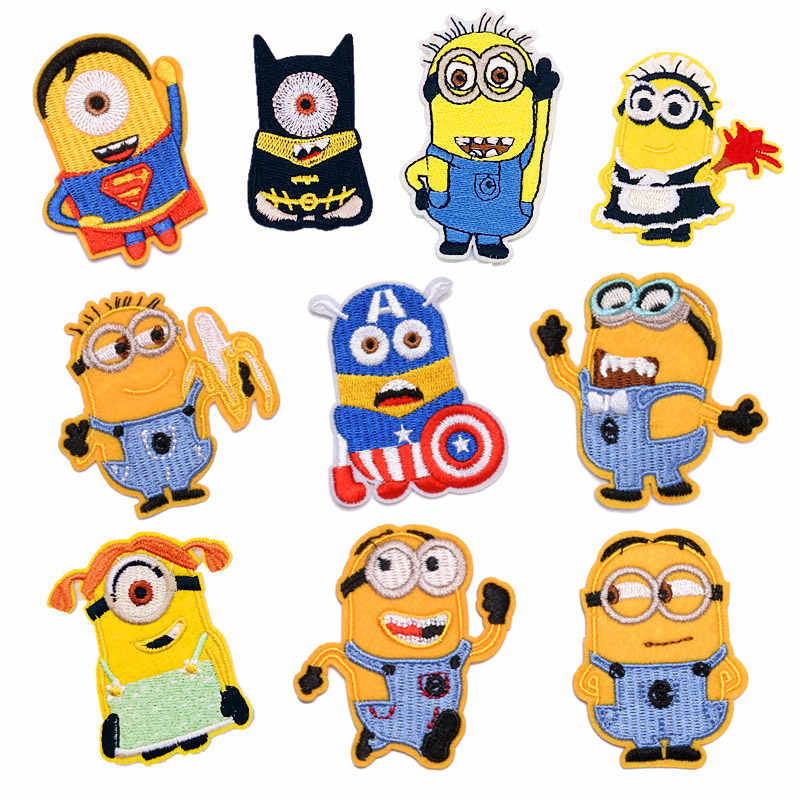 Embroidered Patch Iron On Cartoon Minions Clothes Patches For Clothing Girls Boys Patch Stickers Garment Accessories Wholesale