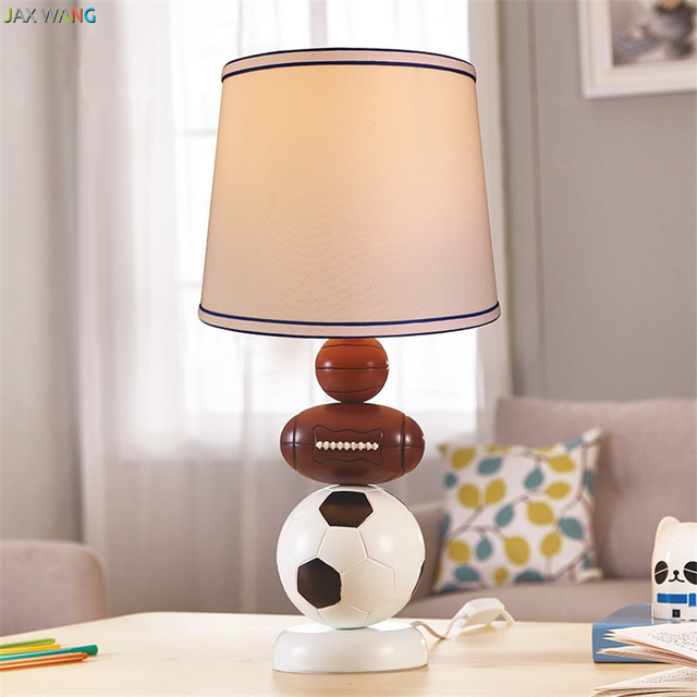 American Children Boy Bedside Table Lamps For Bedroom Led Fabric Lantern Soccer Decorative Lights Eye Protection Study Lighting