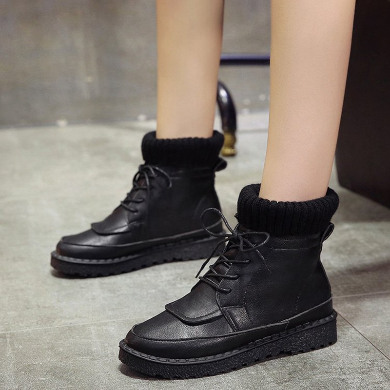 COOTELILI Women Boots Ankle Boots 2018 Winter Shoes Lace-Up Knitted Flat Shoes Rubber Boots Women Leather Shoes 3cm Heel (13)