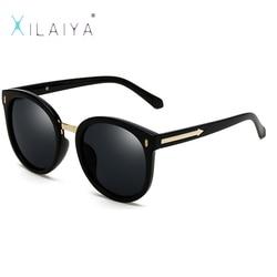 c413cd17b01 Xilaiya 2017 круглый Брендовая Дизайнерская обувь стрелка Защита от солнца  очки для женщин Роскошные HD Очки