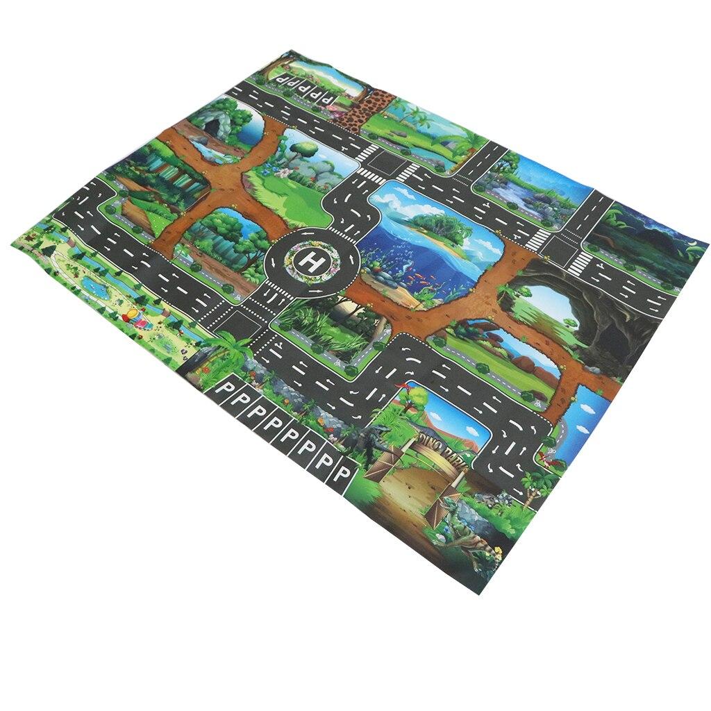 공룡 세계 도로 교통 시스템 Playmat 활동 놀이 매트 카펫 교육 장난감 자동차 및 기차 트랙 놀이방 재미