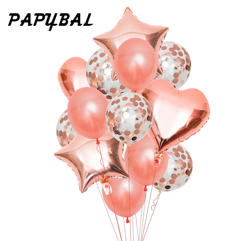 Happy Birthday Balloon 12inch Rose Gold Confetti Balloons Star Baby Shower Wedding Event Party Decor Supplies