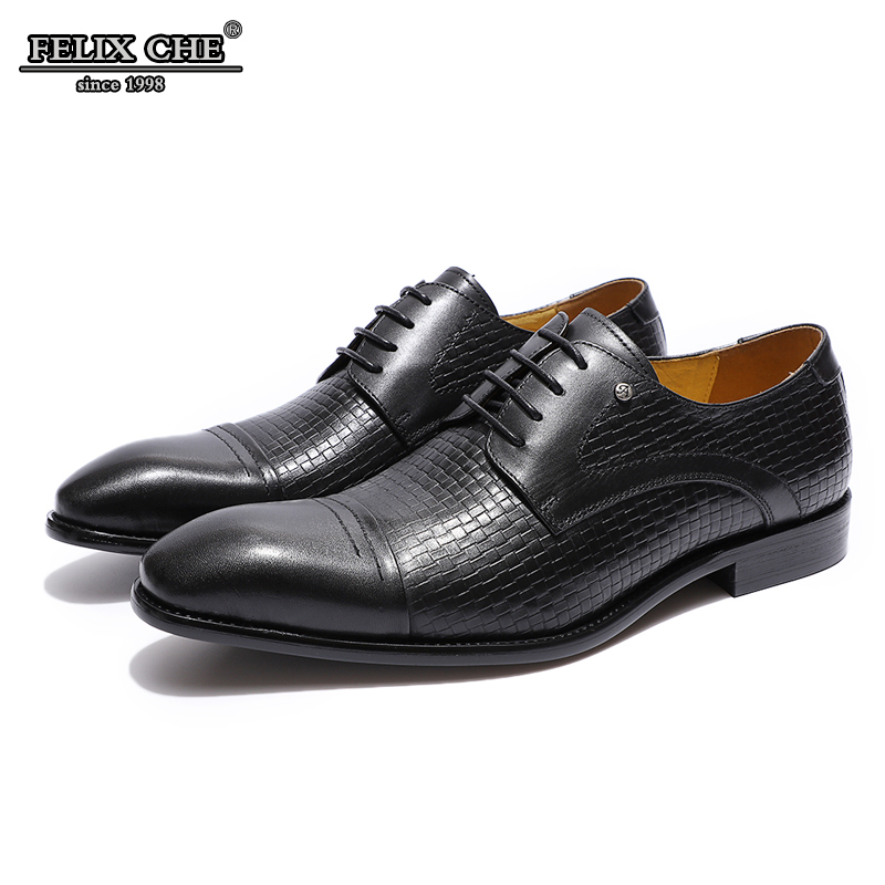 2019 Italian style Mens Dress Shoes Genuine Leather Cap Toe Derby Shoe Black BrownMan Formal Shoes For Business Office FELIX CHU
