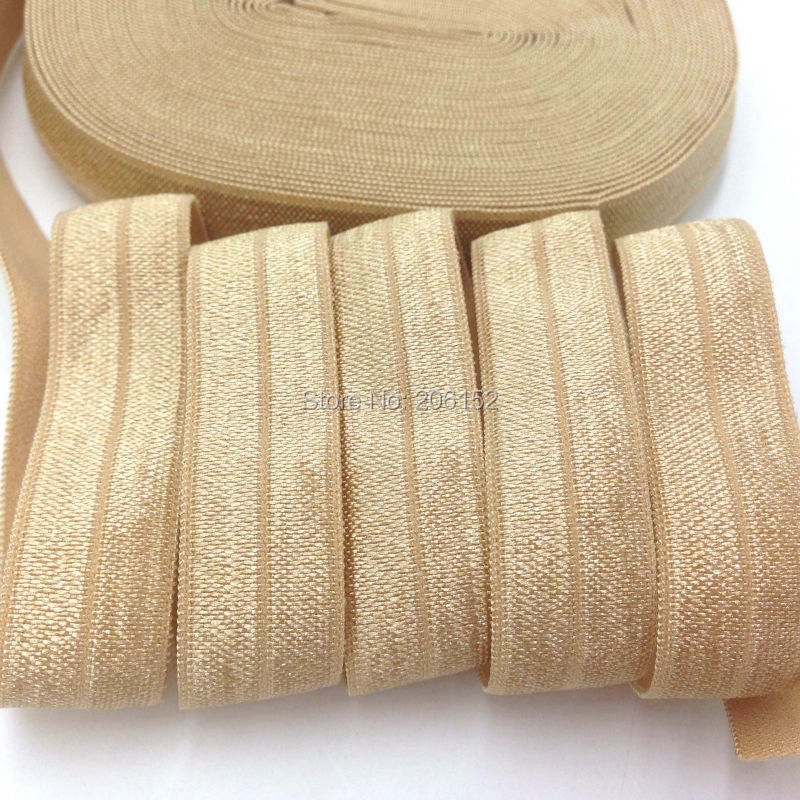 Good Quality Solid Gold Color Fold Over Elastic 5/8 Gold FOE Foldover Elastic Ribbon for DIY Headwear Hair Accessories 10Y/lot 8 colors 5 8 fold over elastic black with metallic gold diamond 50yards per lot