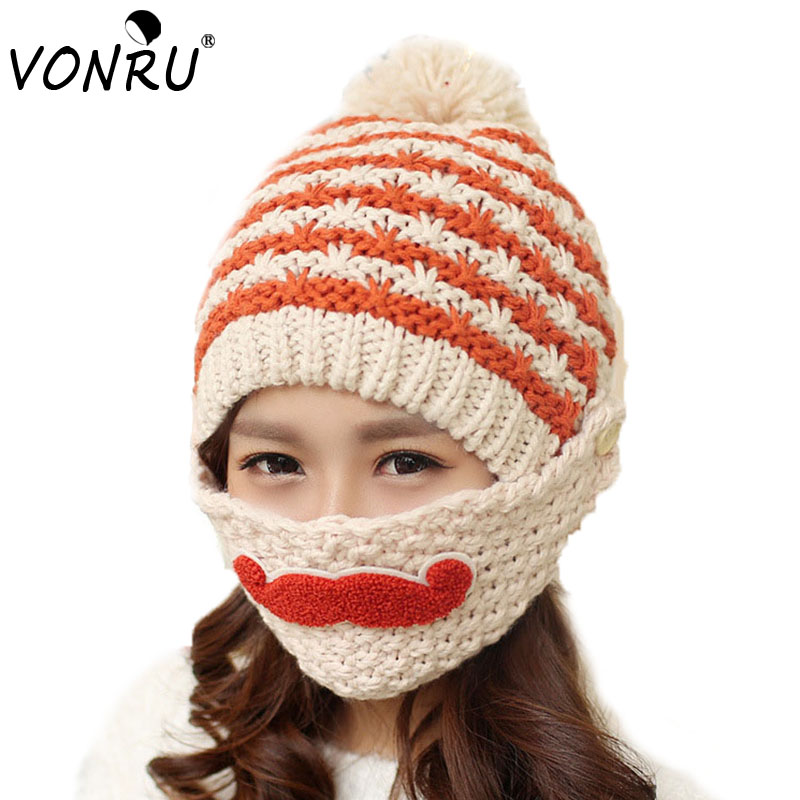 Novelty Winter Striped Knitted Face Mask Hats Beanies Thicken