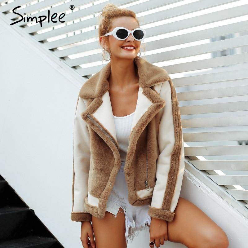 Simplee Элегантный Искусственный мех пальто для женщин 2018 Осень Зима Теплые мягкие на молнии Меховая куртка Женский плюш пальт