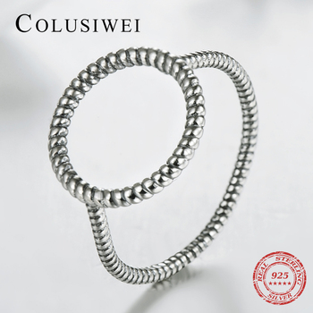 2019 New Fashion Hollow Out Hoop Vintage Party Finger Ring Solid 925 Sterling Silver Rings For Women Classic Anniversary Gift