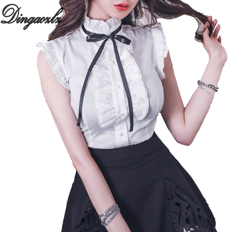 Dingaozlz Elegant Bow Tie Office Lady White Shirt Summer Butterfly Sleeve Women Tops Fashion Ruffles Female Chiffon Blouse