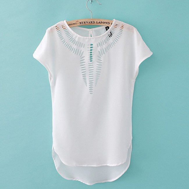 new Europe and American chic plus size chiffon hollow out woman short sleeve blouse fashion solid slim casual female blouse