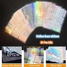 24 листа/Набор diy дизайн ногтей полый 3d лазерная наклейка