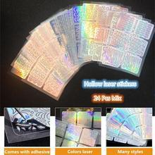 24 Sheets/set DIY Nail Art Hollow 3D Laser Sticker Stencil Gel Polish Guide Template Silver Decals
