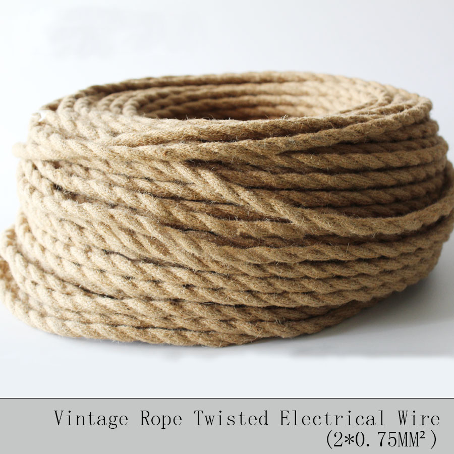 2 0 75 5M Lot Vintage Rope Textile Wire Twisted Cable Braided Electrical Wire Retro Pendant