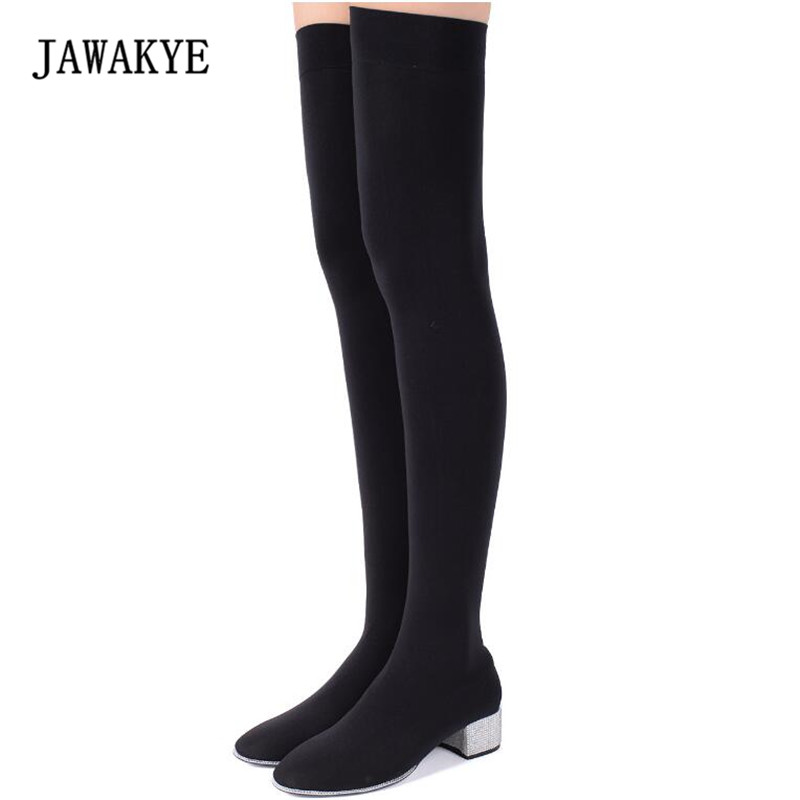 JAWAKYE Black Wool Knit Sock Boots Women Pointed Toe Rhinestone Heel Stretch Long Boots Woman Fashion Over The Knee Boots black stretch fabric suede over the knee open toe knit boots cut out heel thigh high boots in beige knit elastic sock long boots