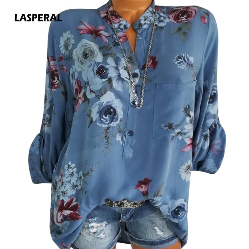 LASPERAL 2018 Women Summer Autumn Long Sleeve V Neck Women Blouse Floral Print Irregular Shirts 5XL Plus Size Women Tops Blouse