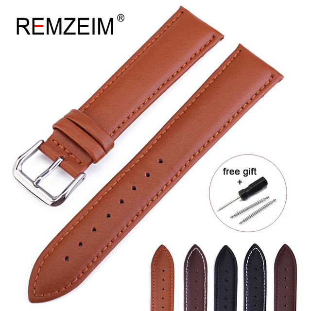 REMZEIM Leather Watchband Strap 16 / 18 / 20 / 22 / 24 MM Stainless Steel Buckle