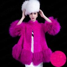 2016 Winter Thick Warm Women Real Rabbit Fur Long Coat Black Orange Rose Red Green Skirt Shape