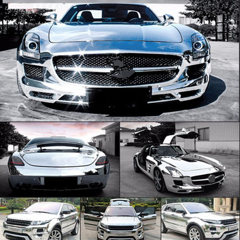 SUNICE Car Wrap Film Self Adhesive Sticker Decals Stretchable Chrome Vinyl Silver DIY Decoration Car Body Film PVC 1.52X10MTS