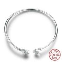 Authentic 100 925 Sterling Silver Chain Signature Clear CZ Cuff Bangles