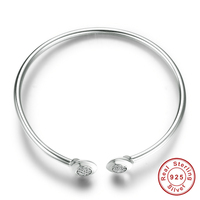 Authentic 100% 925 Sterling Silver Chain Signature, Clear CZ Cuff Bangles