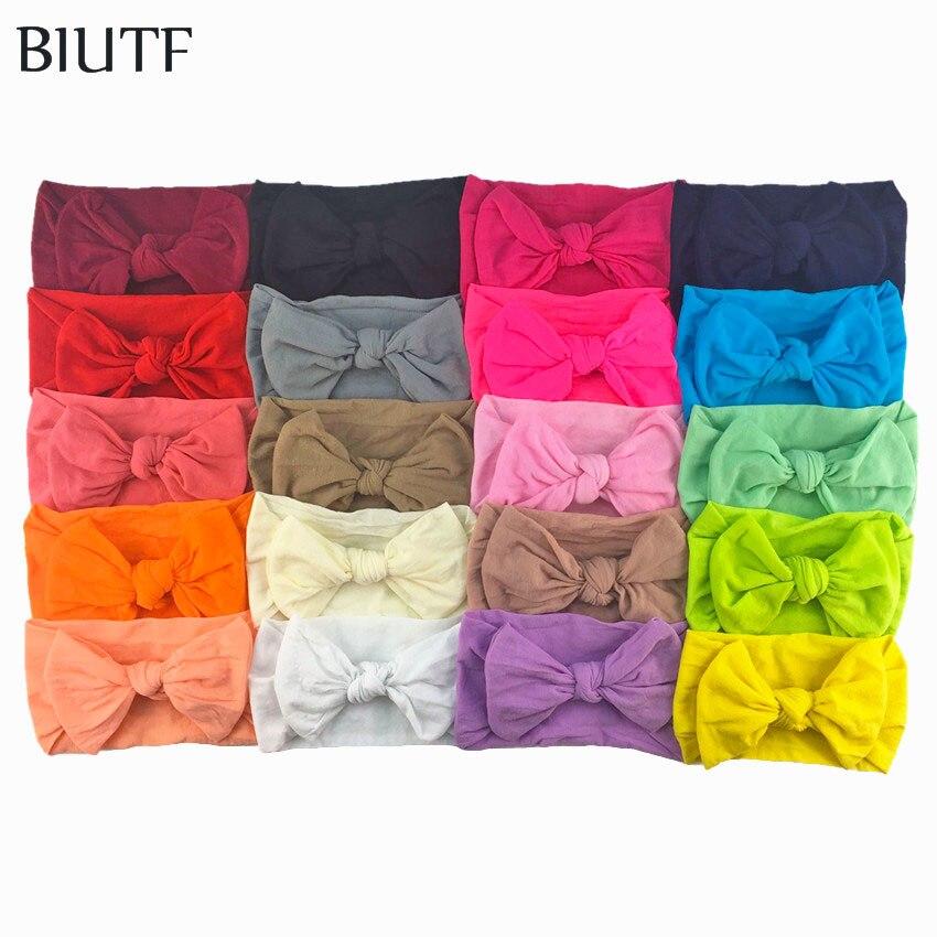 20pcs/lot Fashion New Headwear Soft Nylon Elastic Headband Bow Knot Hairband Fits 0-32 months Kids HB084