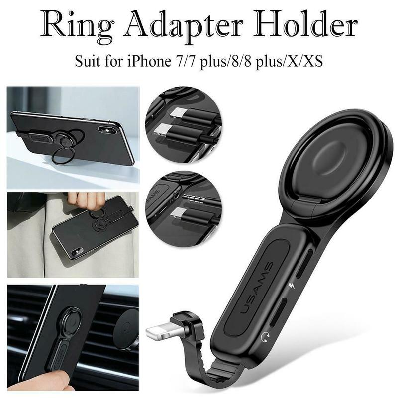 Dual Adjustable IOS Audio&charging Adapter Cell Phone Holder Ring Supports Call+charge+music For IPhone 6/6s/7/plus/8/8plus/X/XS